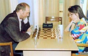 Fischer spiller Fischer Random sjakk med Susan Polgar